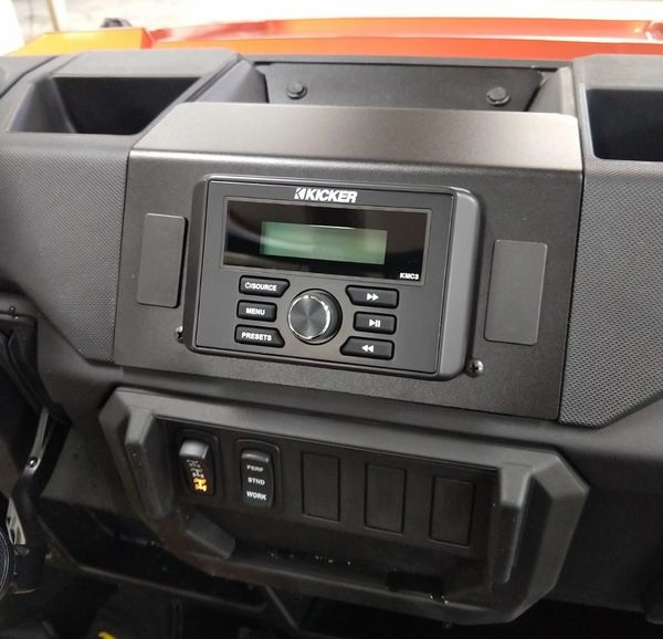 2018 - 2021 Polaris Ranger XP 1000 / 1000 Dash Mounted Audio System - Kicker KMC3 Marine Digital Media Center - FM/AM - Bluetooth - Plug and Play - 100% Weather Proof - Additional Options and Upgrades Available