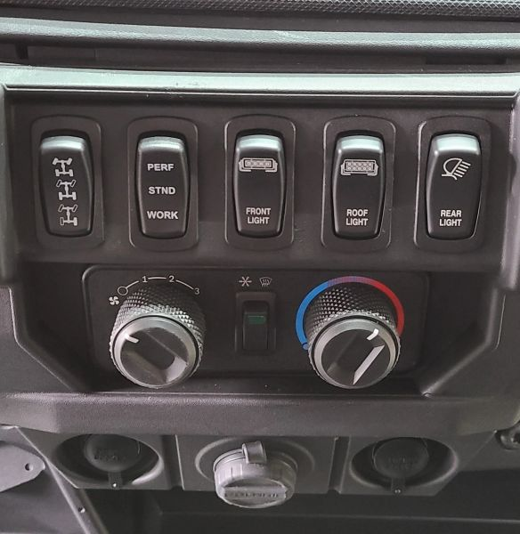 Bottom lights up when key on Top lights up when light is on Blue LED 2018-2021 Polaris Ranger XP 1000//1000 Dash Mounted Back Up Light Switch