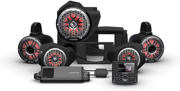 """Pre-Order"" - 2014 - 2021 Polaris RZR XP 900 / XP 1000 Rockford Fosgate RZR14 PMX-1 STG6 Stereo, 1500-Watt Amp, Color Optix Multicolor LED Lighted Front Speaker, Subwoofer & Rear Horn Speaker Kit"