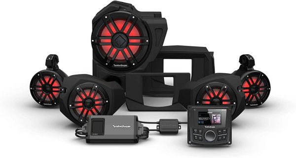 """Pre-Order"" - 2014 - 2021 Polaris RZR XP 900 / XP 1000 Rockford Fosgate RZR14 PMX-1 STG4 Stereo, 800-Watt Amp, Color Optix Multicolor LED Lighted Front Speaker, Subwoofer & Rear Speaker Kit"
