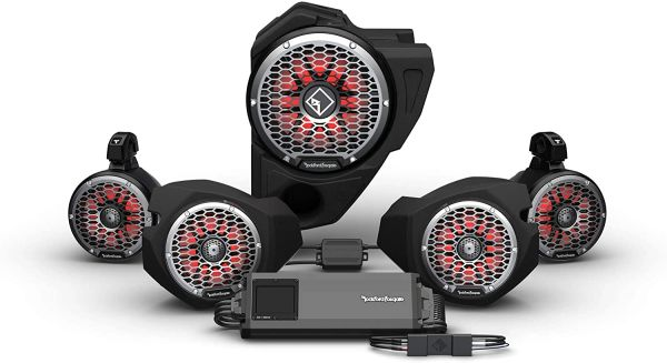 """Pre-Order"" - 2014 - 2021 Polaris RZR Ride Command Rockford Fosgate RZR14RC-STG5 3-Way Interface, 1500-Watt Amp, Color Optix Multicolor LED Lighted Front Speaker, Subwoofer & Rear Speaker Kit"