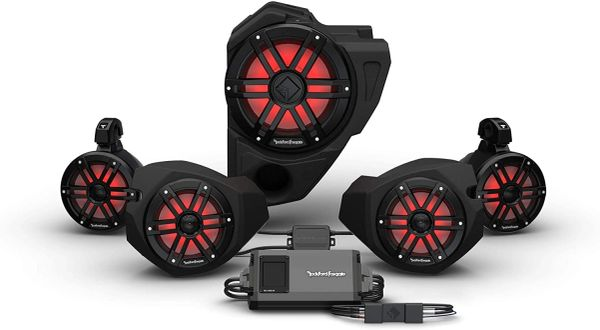 """Pre-Order"" - 2014 - 2021 Polaris RZR Ride Command Rockford Fosgate RZR14RC-STG4 2-Way Interface, 800-Watt Amp, Color Optix Multicolor LED Lighted Front Speaker, Subwoofer & Rear Speaker Kit"
