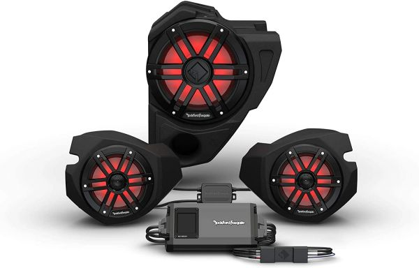 """Pre-Order"" - 2014- 2021 Polaris RZR Ride Command Rockford Fosgate RZR14RC-STG3 Ride Command 2-Way Interface, 800-Watt Amp, Color Optix Multicolor LED Lighted Front Speaker & Subwoofer Kit"
