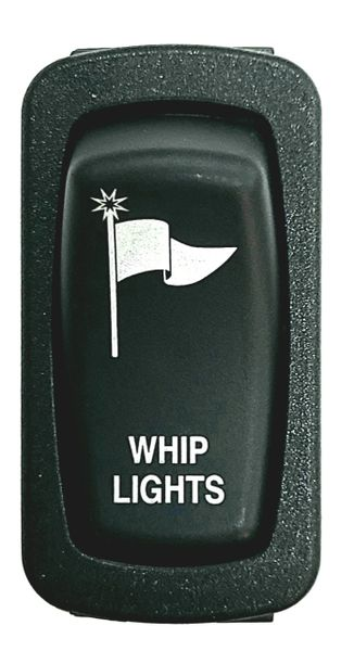 2018 - 2022 Polaris Ranger XP 1000 / 1000 Dash Mounted Whip Light Switch - Blue LED - Bottom lights up when key on - Top lights up when light is on