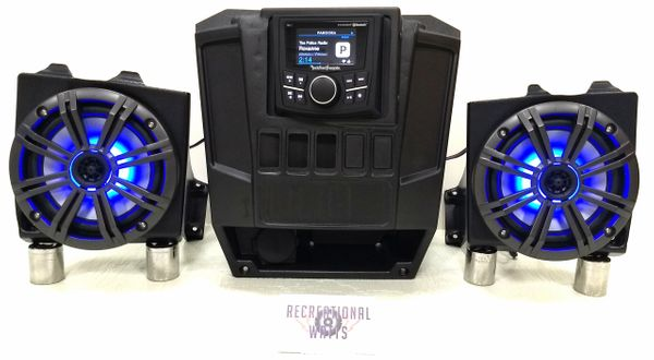 """2013-2019 Polaris Ranger Full Size XP 570/900/1000 Dash Mounted Audio Kit - Rockford Fosgate PMX-1 Media Receiver - 6.5"""" Kicker KM Series LED Speakers - FM/AM - Bluetooth - Plug and Play - 100% Weather Proof - Additional Options and Upgrades Available"""