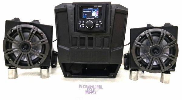 "2013-2019 Polaris Ranger Full Size XP 570/900/1000 Dash Mounted Audio Kit - Rockford Fosgate PMX-1 Receiver - 6.5"" Kicker KM Speakers - FM/AM - Bluetooth - Plug and Play - 100% Weather Proof - Additional Options and Upgrades Available"