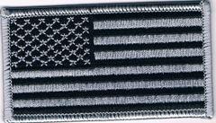 AMERICAN FLAG SILVER & BLACK (SMALL) SILVER BORDER