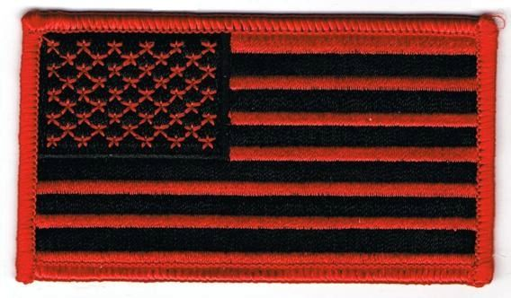 AMERICAN FLAG BLACK & RED W RED BORDER (SMALL)