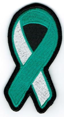 TEAL & WHITE RIBBON CERVICAL CANCER AWARENESS