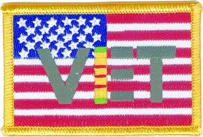 AMERICAN FLAG WITH VET IN VIETNAM RIBBON COLORS