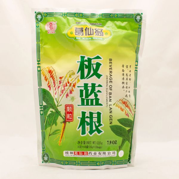 Banlangen or Isatis instant herbal tea with sugar in sachets