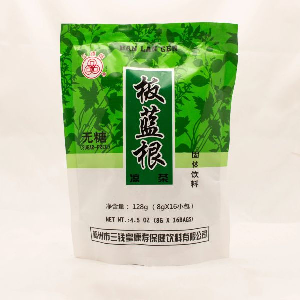 Banlangen or Isatis instant herbal tea with mannitol in sachets