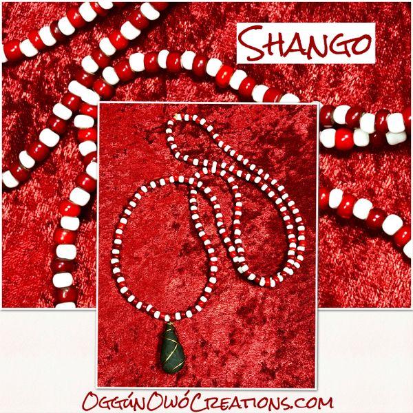 Eleke de Chango African beads with thunder stone (piedra de Rayo