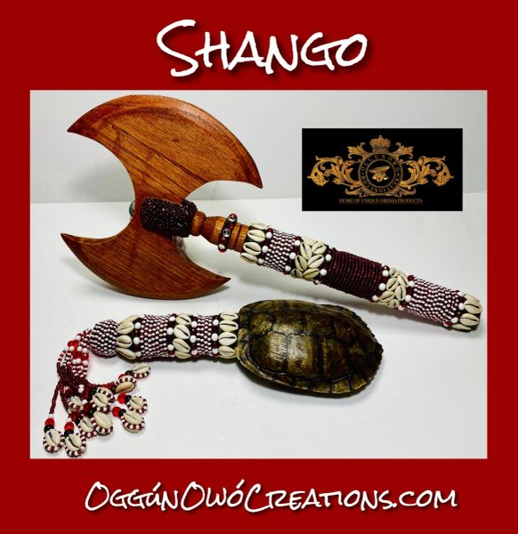 Shango axe and ashere made of turtle shell