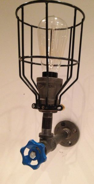 Steampunk Industrial Pipe Light Fixture With Cage Circle