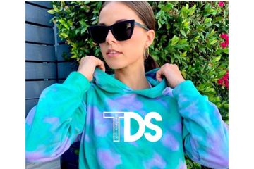 Cropped hoodie, hand tie-dyed with the TDS colors and logo.  {CXS 4-5, CS 6-7, CM 8, CL 10}