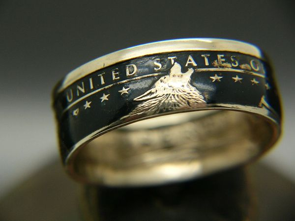 Sacagawea 'Lone Wolf' design Coin Ring