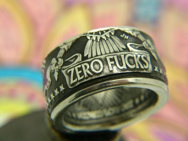 Zero Fucks Eagle Coin Ring