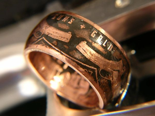 Guns & Gold Copper Coin Ring