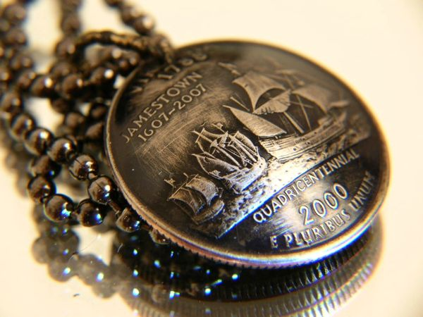 State Quarter Pendant with chain