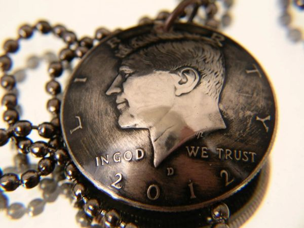 Kennedy Half Dollar Pendant with chain or keychain