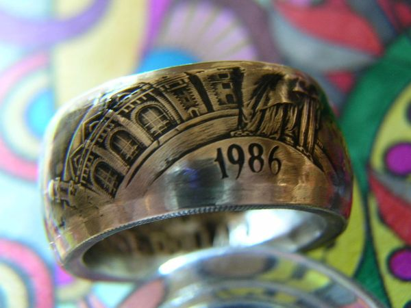 1986 ELLIS ISLAND/STATUE OF LIBERTY PROOF SILVER DOLLAR Coin Ring