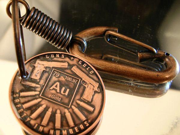 Guns & Gold Copper Pendant Key Chain w/Belt Clip
