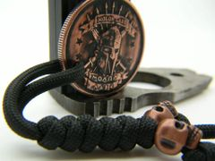 Long tail Molon Labe pendant with Double Skulls