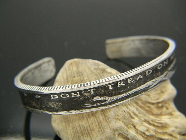 Silver Don't Tread On Me Cuff Bracelet