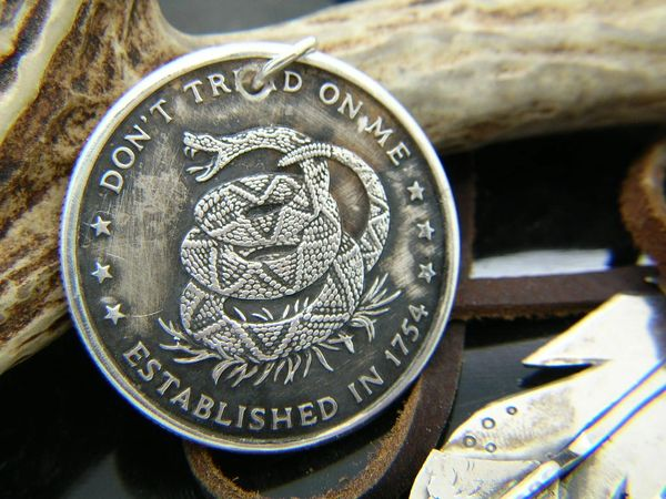 Silver Don't Tread On Me Pendant