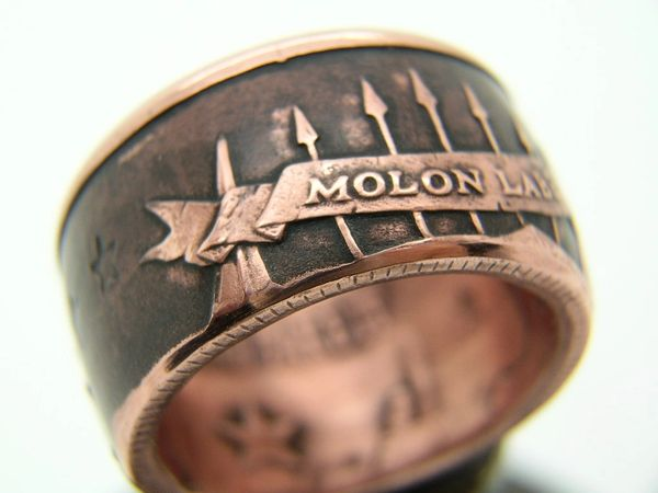 Molon Labe Copper Coin Ring