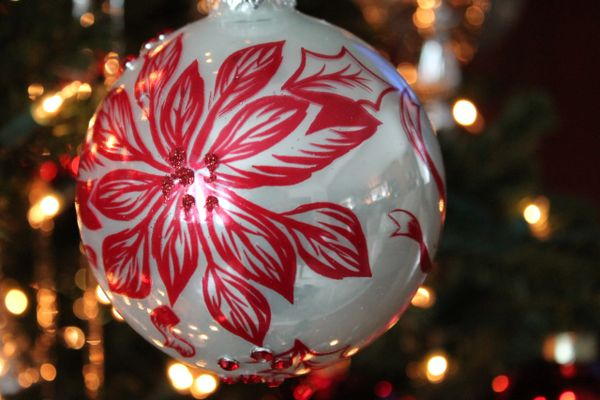 Poinsettia Glass Ball Christmas Ornament