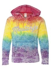 GIRLS RAINBOW VNOTCH GLITTER PRINT HOODY