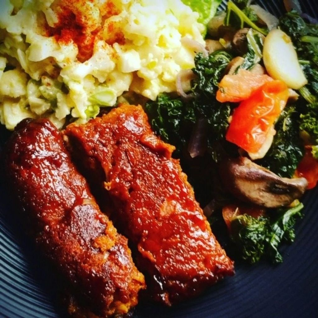 Vegan BBQ Ribs with Sauteed Kale and Vegan Potato Salad