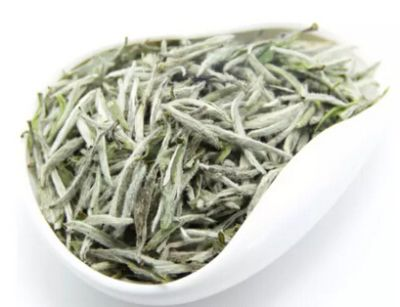 Close-up of white tea leaves.