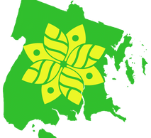 Green map of the Bronx with an eight leaf yellow sunflower