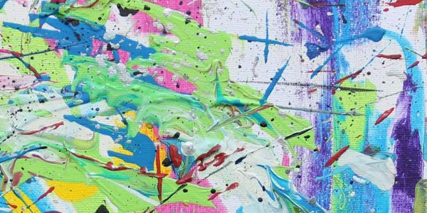 Abstract painting in green, blue, yellow, white and pink