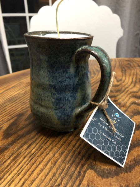 Blueberry Thyme Hand thrown pottery candle