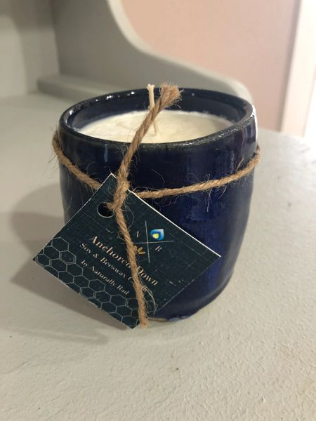 Handmade Pottery Candle Anchored Down
