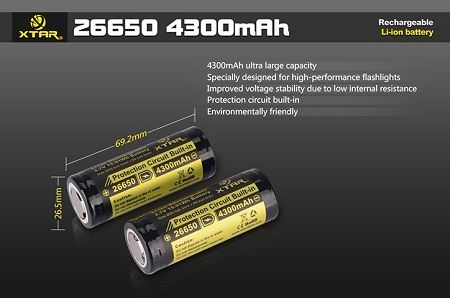 26650 4300mAh XTAR Li-ion Rechargeable Battery (1 pc) w/ CASE