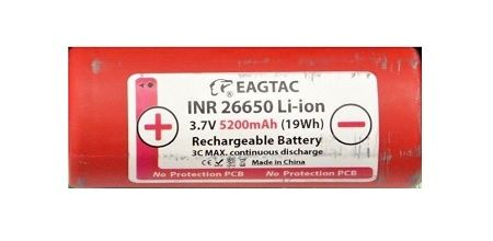 26650 5200mAh EAGTAC Li-ion Rechargeable Battery (1 pc) w/ CASE