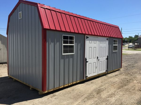 10x20 Metal Old Town Gray and Dark Red Roof