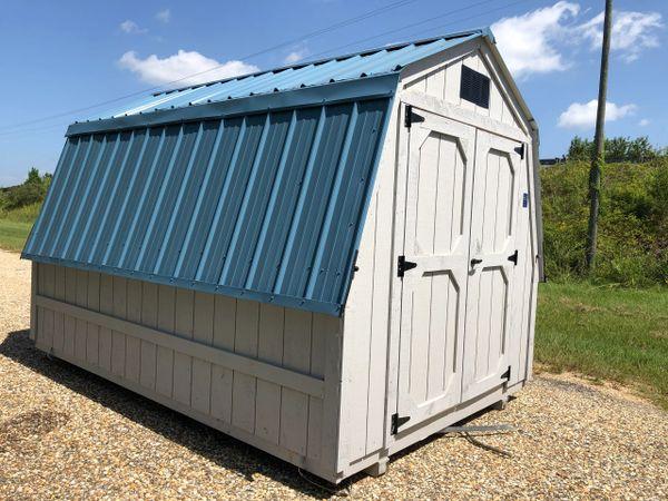 """8x12 32"""" Wall Barn Driftwood / Hawaiian Blue"""