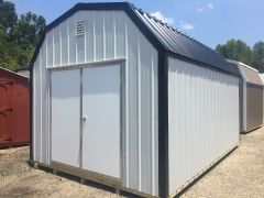 12x16 White Metal Amish Barn