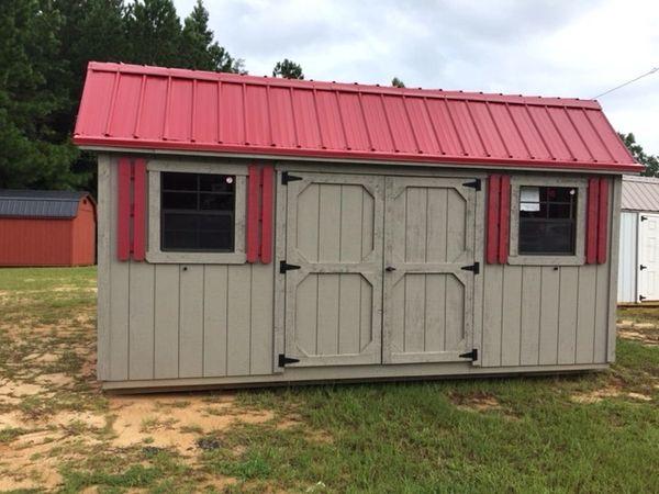 10x16 Gray/Red Barn