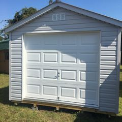12x12 Vinyl A-Frame Gray with Garage Door