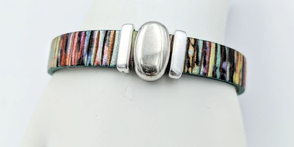 colorful leather jelly bean metal slider magnetic clasp handmade