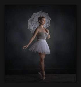 After Image of a fine art portrait image of a ballerina with a white umbrella