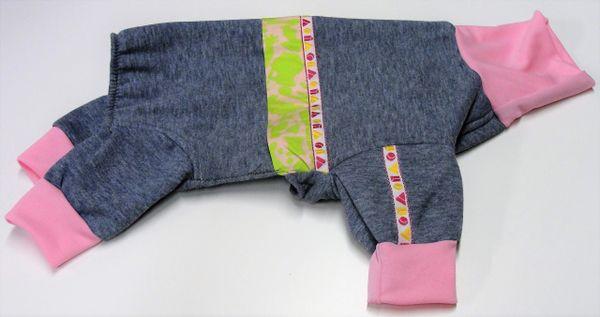 Grey with Pink and Green Camo Belt Fleece Pet Jammies - Roomy Assorted Sizes