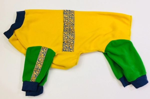 Yellow and Green Fleece w/Ribbon Trim Pet Jammies - Roomy X Large